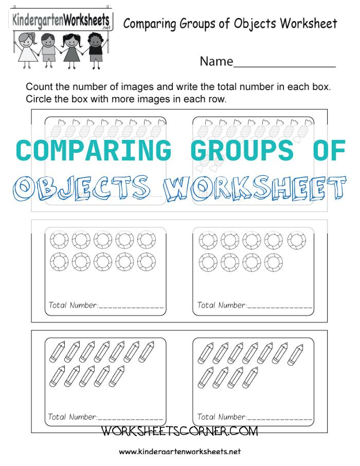 Comparing Groups Of Objects Worksheet