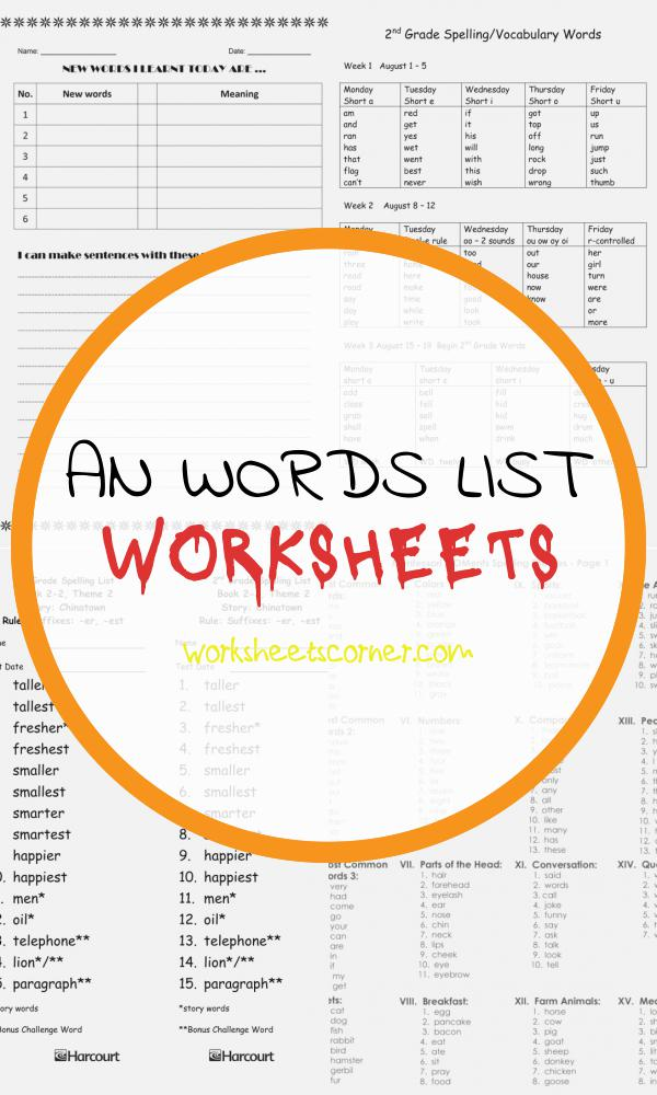 An Words List Worksheets