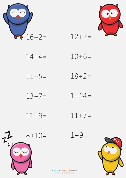 Addition Worksheets Sums to 20