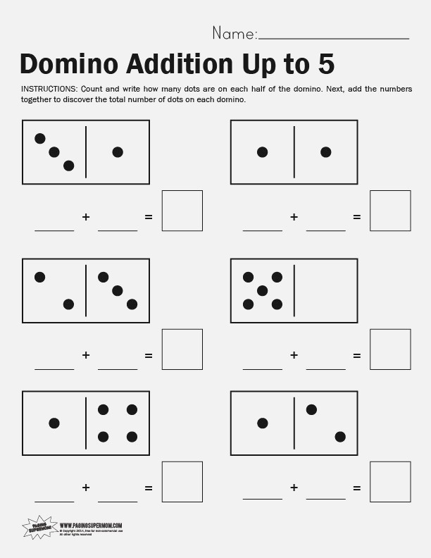 Domino Math Worksheet Adding Up to 5 Paging Supermom