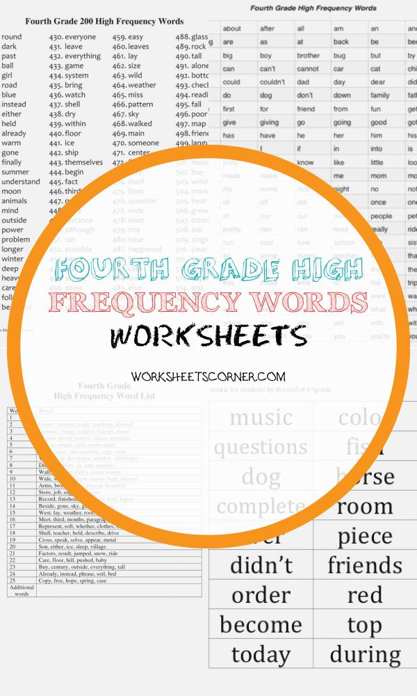 Fourth Grade High Frequency Words Worksheets
