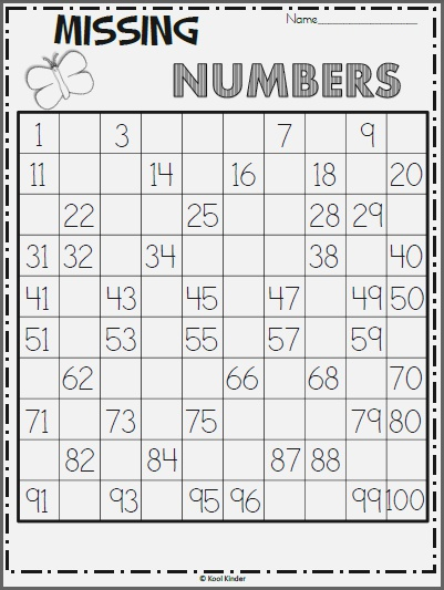 Free Spring 100s Chart Missing Numbers Worksheet Made by