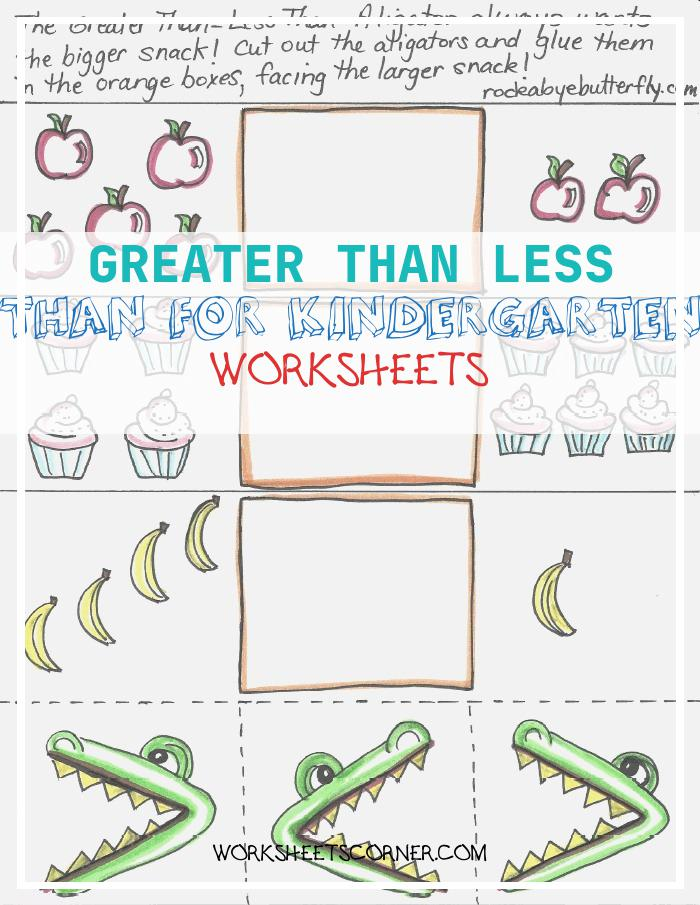 Greater Than Less Than for Kindergarten Worksheets