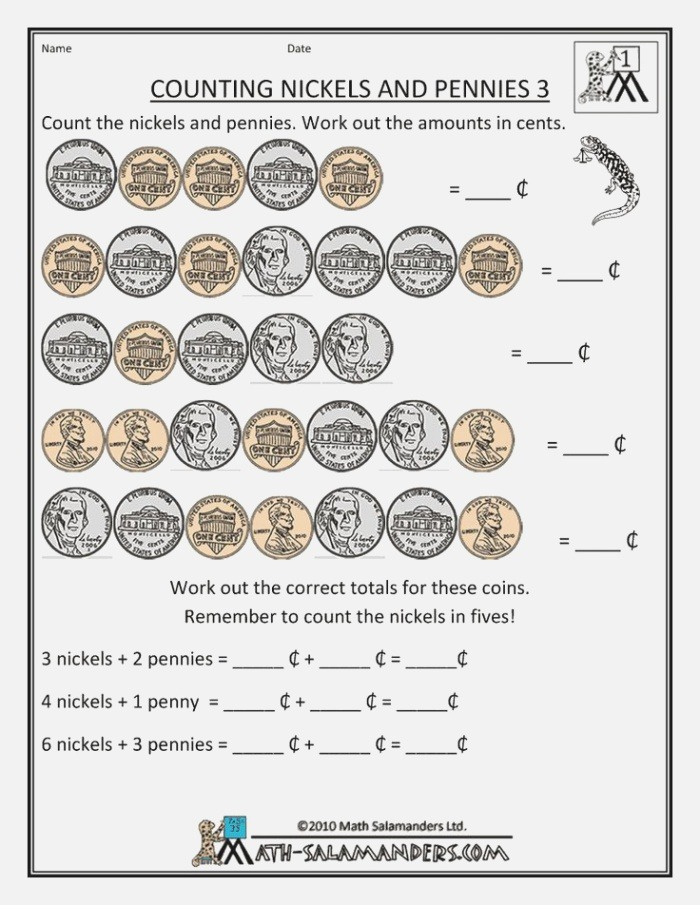 Printable Money Worksheets Counting Nickels and Pennies 3