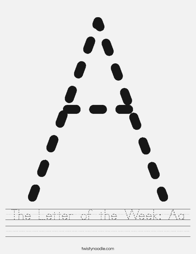 the Letter Of the Week Aa Worksheet Twisty Noodle